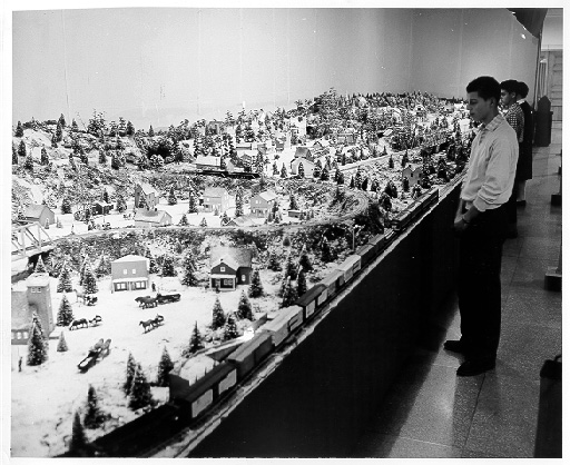 Photo of first Buhl Planetarium  Miniature Railroad display in 1954
