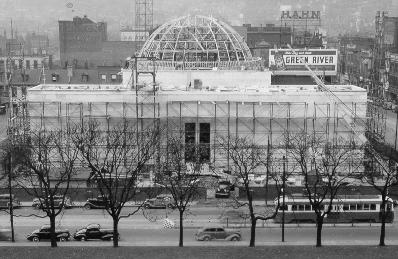 Photo of  construction of the building and dome of Buhl Planetarium, Pittsburgh, Oct. 22, 1938